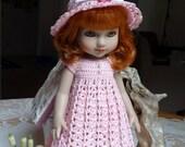 Crochet clothes Tonner 10 inch Ann Estelle Patsy Sophie Doll Dress Empire Hat Ribbon Flower Pink Pearl