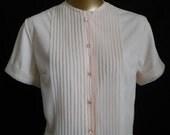 MOVING SALE Vintage 50s Blouse, 1950s Crystal Pleated Button Front Suit Blouse, Soft Pink Nylon, Size M Medium