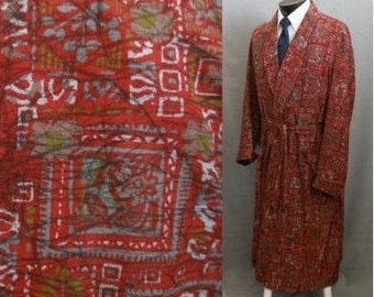 Vintage 50s Smoking Robe, 1950s Abstract Print Gray and Rust Silk Wrap Robe, Original Belt, State O Maine, Size M to L