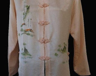 Vintage 80s Asian Cheongsam Blouse, 1980s Hand Painted Houses Trees Mountains Peach Silk Tunic, Size M to L