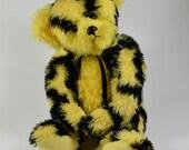 Metro - Teddy Bear, Handmade, Stuffed Animal, Plushie, Toy, OOAK, Yellow, Made In Alaska