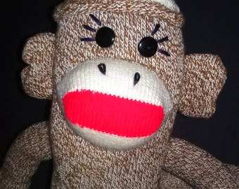 Free Shipping Vintage Homemade Classic Sock Monkey Collectable Sock Monkey Stuffed Animal Kitschy Sock Monkey Weird Decor Sock Monkey Doll