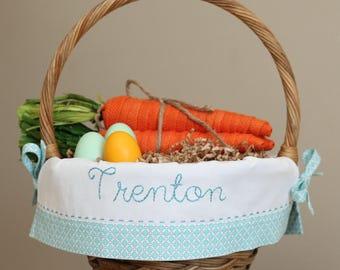 PRE-ORDER 2019 Personalized Easter Basket, Boy Easter Basket Liner, fits Pottery Barn Kids baskets, Embroidered Easter Basket Diamond