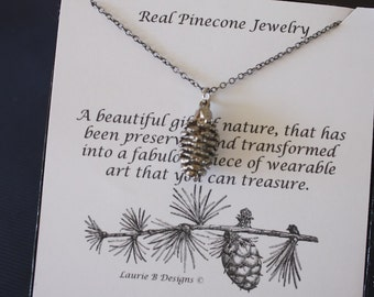 Small Pinecone Real Necklace, Small Real Pinecone Necklace, Pine cone, Pinecone, Pink Gold, Christmas Card