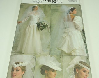Vogue Misses' Veil And Headpiece Pattern 9822 One size
