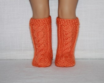 hand knit socks, orange cable socks, 18 inch doll clothes,
