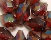 Czech Beads Firepolished Teardrops Amethyst Celcian 12 Pc. C63