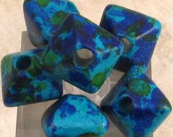 Greek Ceramic Oxyhedron Beads, 12 mm, Aegean Mix, 6 Pieces M293