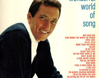 "ANDY WILLIAMS Book 2 Song Book Sheet Music ""Wonderful World of Song"" Piano Vocals 1965 Songbook Guitar Chords"