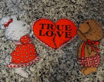 Valentine True Love Applique, Sweetheart, Valentines, Bunny Rabbit & Bear, Teddy Bear, Shirt Applique, Quilting Applique
