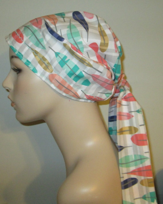 Pastel Feathers   Chemo Hat, Cancer Scarf, Surgical Scrub Hat, Turban, Hair Loss Free Ship USA