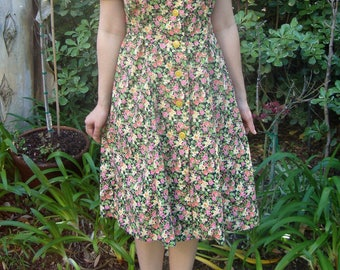 Vintage Cotton Floral Sun Dress M