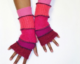 Fingerless Gloves, Armwarmers, Mohair Gloves(Brick Red/Scarlet/Deep Pink/Coral/SparklingPink) by Brenda Abdullah