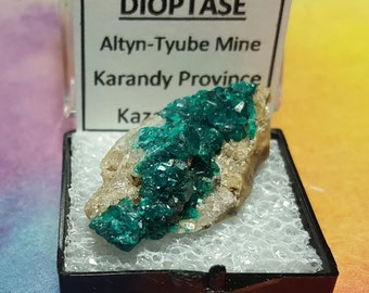 Sale DIOPTASE Natural Bright Teal Blue Green Crystal Mineral Specimen In Perky Box From Kazakhstan