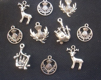 10 Assorted Scottish Highlands Charms Silver Tone Metal