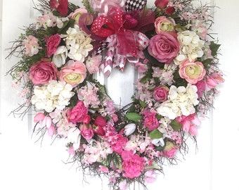 XL Heart Wreath for front door, Bridal shower wreath, winter wreathe, Valentine Decor, wedding wreathe, roses, wall decor, decor