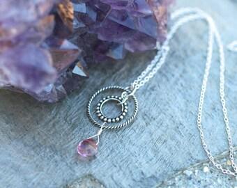 Mystic Pink Quartz Gemstone, Double Circle Sterling Silver Necklace, Minimalist, Petite Pink Gemstone Necklace, Sterling Silver Jewelry