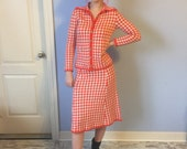 Vintage Knit Suit St. Johns Knits for Saks Fifth Avenue - 1960 70s Houndstooth Size Small