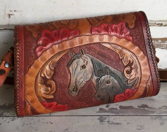 Vintage Hand Tooled Leather Purse Horse and Roses Clutch or Shoulder Strap -Stained Lined Awesome! RESERVED