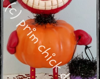 Halloween DEVIL imp ghoul sculpture hand painted whimsical pumpkin tinsel trick or treat bucket prim chick lisa robinson ofg teamhaha SPARK