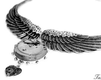 Steampunk Necklace, Silver Wing Necklace, Antique Pocket Watch Necklace, Statement, Bib, Steampunk Wedding, Avant Garde, Owl Jewelry