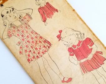 Vintage 1940s Girls Pintuck Dress Pattern Size 2 Chest 21 New York Pattern 1842 Pleated Skirt Toddler Dress Pattern