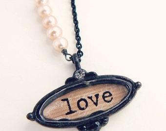 Claire - Love necklace - antique style pendant - love shadowbox necklace