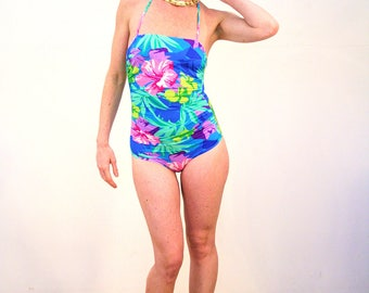 Aviva, 80s Swimsuit S, Retro Swimsuit, Tropical Swimsuit, Bright Blue Pink Floral Swimsuit, One Piece Maillot, Avon Fashions Bathing Suit