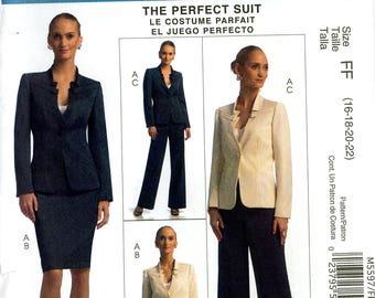 McCall's M5597 Palmer Pletsch Classic Fit Perfect Suit Jacket Skirt Pants Size 16 18 20 22 Uncut Sewing Pattern 2008