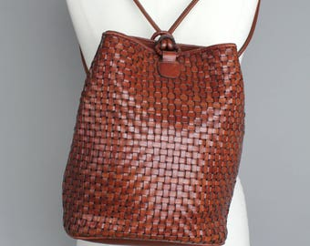 Vintage Brown Woven Leather Sack | Medium Woven Leather Backpack | Supple Brown Leather Sling Tote | Medium Woven Leather Bucket Bag