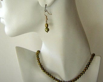 Real Pearl Necklace & Earring Set Moss Green Freshwater Pearls - Hand Crafted - AFFORDABLE Gifts