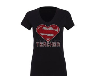 Super Teacher T-Shirt Rhinestone T-Shirt Bling Rhinestone T-Shirt