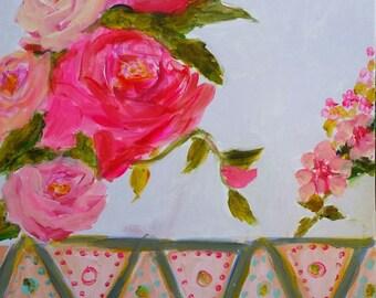 Tribal Vase, roses, pink, blue, aqua, bohemian