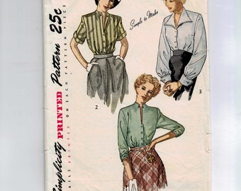 1940s Vintage Sewing Pattern Simplicity 2935 Misses Button Front Blouse Size 16 Bust 34 1949 40s