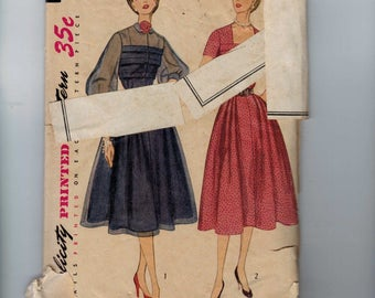 1950s Vintage Sewing Pattern Simplicity 3545 Misses One Piece Dress with Full Skirt and Cuffed Sleeves Size 16 Bust 34 50s