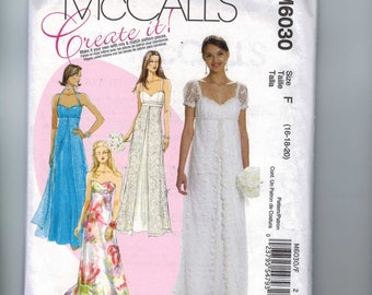 Misses Sewing Pattern McCalls 6030 6030 Misses High Empire Waist Wedding Bridesmaid Formal Dress Bridal Gown Strapless Regency UNCUT
