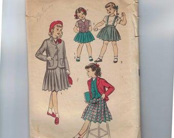 1950s Vintage Girls Sewing Pattern Advance 5922 Girls Pleated Skirt Suspenders Weskit Jacket Preppy Size 6 Breast 24 50s
