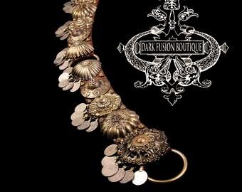 "Bellydance Belt, 35.5""- 37"", Black, Brass, Dark Gold, Kuchi Coins, Fusion, Vintage, Noir, Nouveau, Ritual, Tribal, Costume"