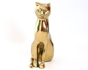 Large Brass Cat Figurine