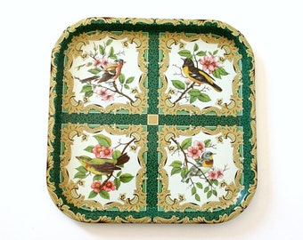 Vintage Daher Metal Tray with Colorful Bird Design (Made in England)
