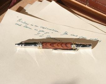 Broadwell Nouveau Sceptre Chrome and 24kt Gold Fountain Pen - Cocobolo Wood