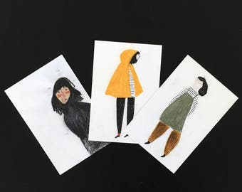 Women. Set of 3 postcards