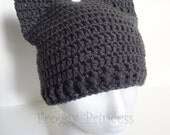Cat Hat, Kitty Hat, Animal Ears Beanie, Crocheted Gift for Kids Teens Adults