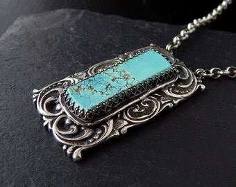 Sterling Scroll Necklace: Sterling silver, natural turquoise with brown web, 18 inch sterling rolo chain, handmade metal clay pendant, PMC