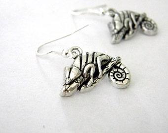 Chameleon Earrings Dangle Earrings Silver Color