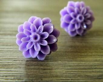 Lilac Mum Flower Post Earrings Dahlia 15mm Studs Purple Flower