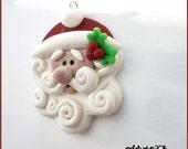 SALE Swirly Santa Claus Polymer Clay Charm Pendant