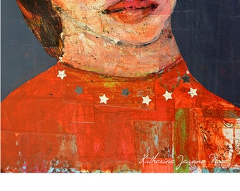Collage Art Girl Portrait Painting Print. Stars Girl Wall Hanging. Red Home Wall Art Prints. Gift for Her Apartment