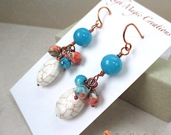 Long Gemstone Earrings Blue White Orange Cluster Colorful Stone Dangle, Boho Jewelry for Woman, Copper Hook Earring Wires, Gift for Her E208