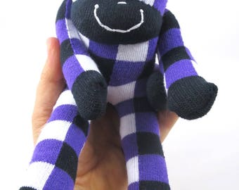 NEW* Mini Sock Monkey BENNIE : checkered, checks, purple, black and white, handmade plush sock toy softie.